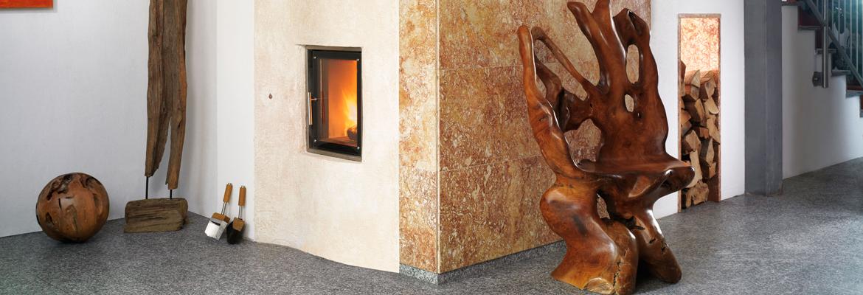Sálavá kamna v moderním designu v kombinaci Fresca s přírodním kamenem.